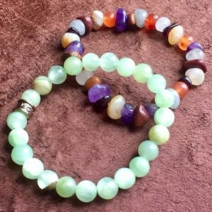 Green and Multi-stone Bracelet Set